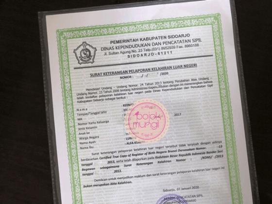 Surat Keterangan Pelaporan Kelahiran Luar Negeri